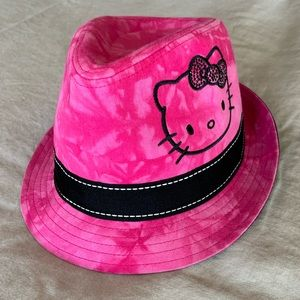 Girls Pink tie dye Hello Kitty fedora. Sz M/L